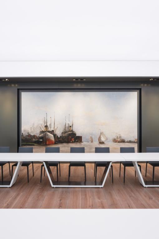 Havenzaal, Havengebouw Amsterdam. Bovenste verdieping in 2016 gerenoveerd en ingericht door Fokkema & Partners Architecten, Delft. Foto: Horizon Photoworks, Rotterdam.