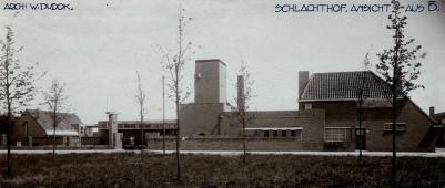 SAGV032.1+3873 Slachthuisplein. het slachthuis, overzichtsfoto vn het plein 1935 Hilversum SAGV032.1 Fotocollectie dienst Publieke Werken gemeente Hilversum
