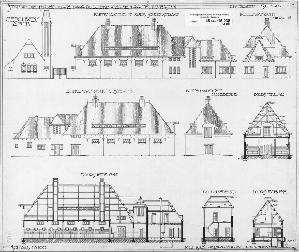 Gemeentewerf aan het Langewenst, Hilversum. Bouwtekening: archief www.gooienvechthistorisch.nl
