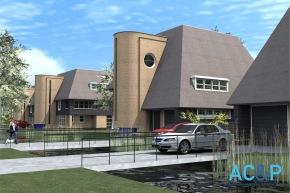 Ontwerpen voor vijf zogeheten Dudokvilla's aan de Dudoksingel in Utrecht, door bureau AC&P. Niet gerealiseerd.