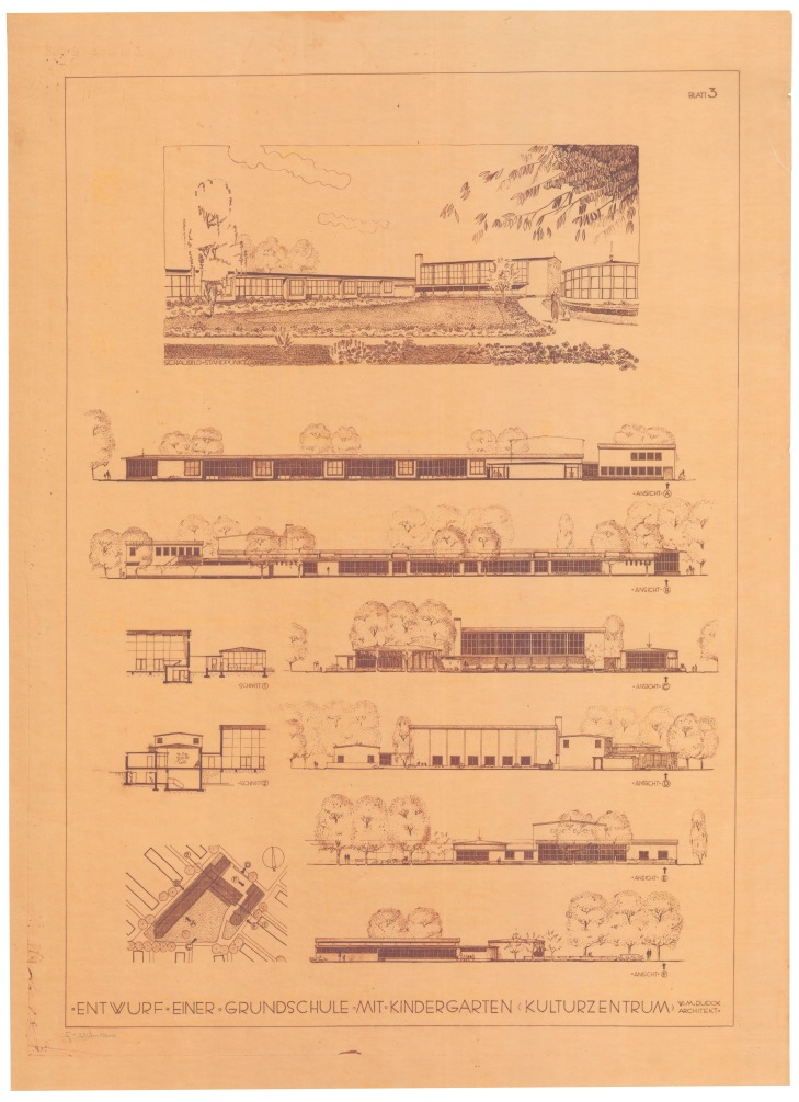Schetsen van het originele ontwerp voor een lagere school met kleuterschool in Darmstadt, door W. M. Dudok (1951) All rights reserved Het Nieuwe Instituut, Rotterdam.